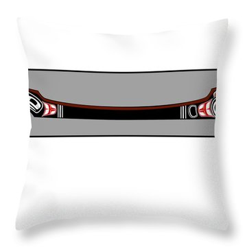 Pacific Northwest Native Canoe Throw Pillow by Fred Croydon
