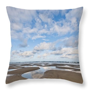 Pacific Ocean Beach At Low Tide Throw Pillow
