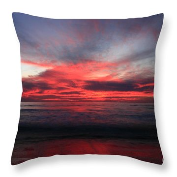 Throw Pillow featuring the photograph Pacific Red Skyburst by John F Tsumas