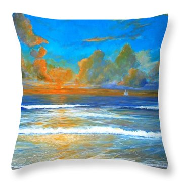 Pacific Reflections Throw Pillow by Keith Wilkie