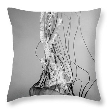 Pacific Sea Nettle - Black And White Throw Pillow