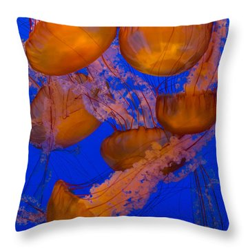 Pacific Sea Nettle Cluster 2 Throw Pillow