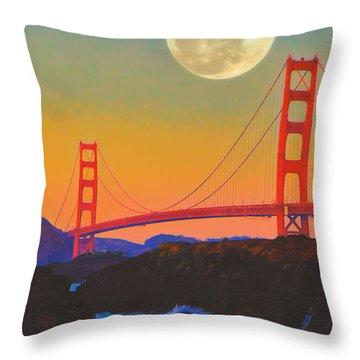 Pacific Sunset - Golden Gate Bridge And Moonrise Throw Pillow