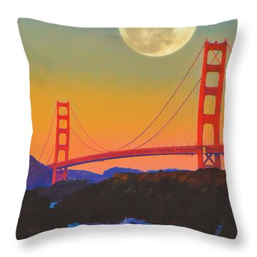 Pacific Sunset - Golden Gate Bridge And Moonrise Throw Pillow