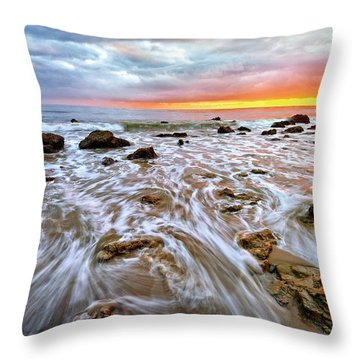 Pacific Surf And Sunset Throw Pillow by Charline Xia
