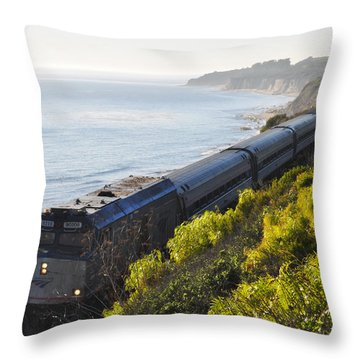 Pacific Surfliner Along The Central Coast Throw Pillow