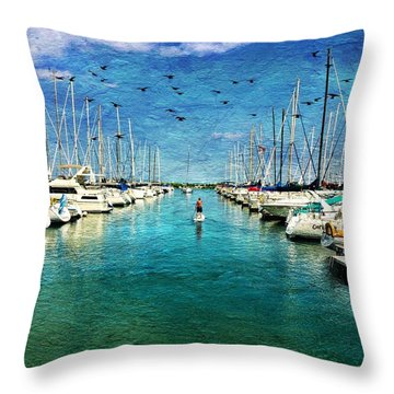 Paddle Boarder  In The Harbor Throw Pillow