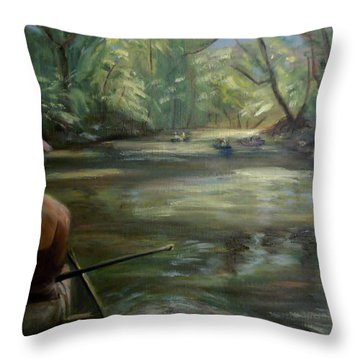 Throw Pillow featuring the painting Paddle Break by Donna Tuten