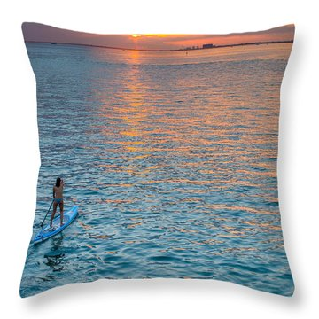 Paddle Girl Throw Pillow by Jonathan Gewirtz