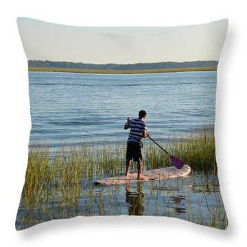 Throw Pillow featuring the photograph Paddleboarder by Margaret Palmer