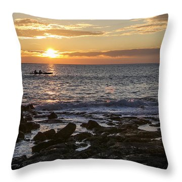 Paddlers At Sunset Horizontal Throw Pillow by Denise Bird