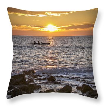 Paddlers At Sunset Portrait Throw Pillow by Denise Bird