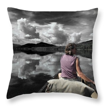 Paddling Attean Pond Throw Pillow