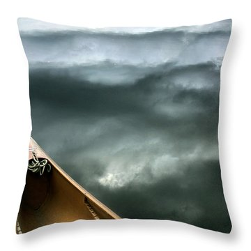 Paddling Before The Storm Throw Pillow