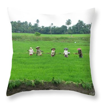 Paddy Field Workers Throw Pillow
