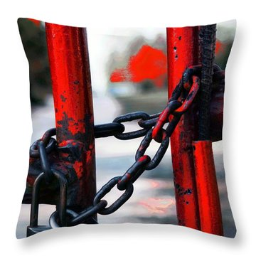 Throw Pillow featuring the photograph Padlock by Bob Pardue