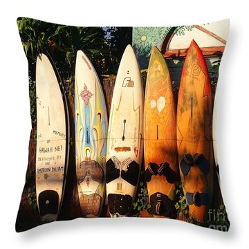 Paia Surfboards Throw Pillow
