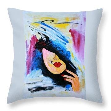Paint-brush Doodle Throw Pillow by Renate Dartois