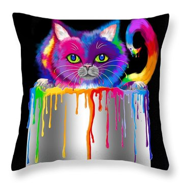 Paint Can Cat Throw Pillow by Nick Gustafson