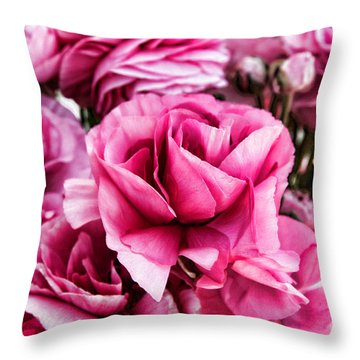 Paint Me Pink Ranunculus Flowers By Diana Sainz Throw Pillow