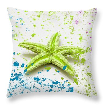 Paint Spattered Star Fish Throw Pillow