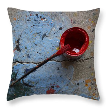 Paint The Town Red Throw Pillow by Nola Lee Kelsey
