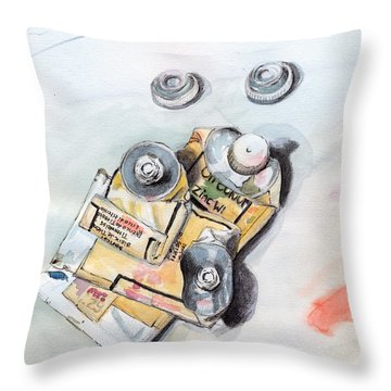 Paint Tubes Throw Pillow by Katherine Miller