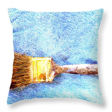 Paintbrush On Denim Throw Pillow by Lin Haring