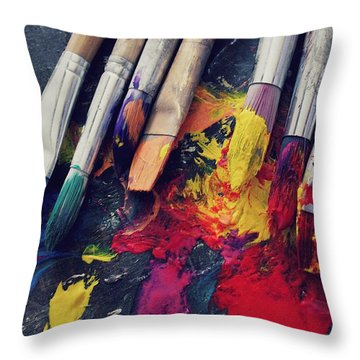 Paintbrushes  Throw Pillow by Bella  Harris