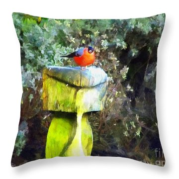 Painted Bullfinch S2 Throw Pillow