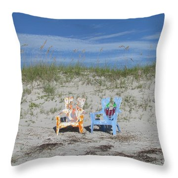 Painted Beach Chairs Throw Pillow by Ellen Meakin