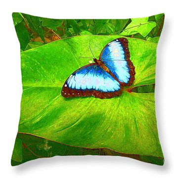 Painted Blue Morpho Throw Pillow by Teresa Zieba