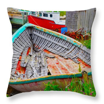 Painted Boats Throw Pillow by Will Burlingham