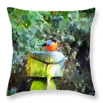 Painted Bullfinch S1 Throw Pillow