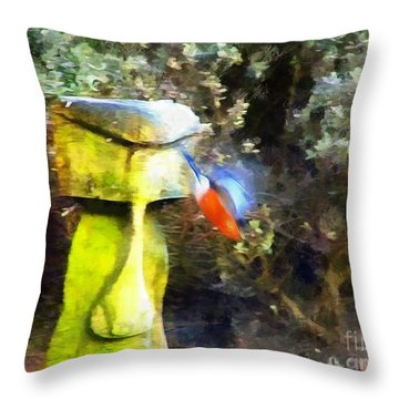 Painted Bullfinch S3 Throw Pillow