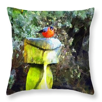Painted Bullfinch Trio Throw Pillow