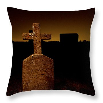 Painted Cross In Graveyard Throw Pillow by Jean Noren