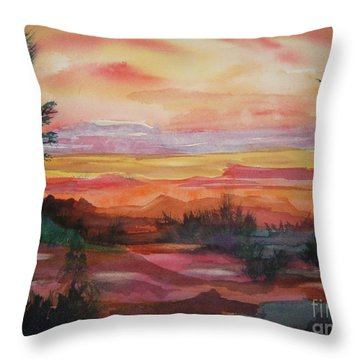 Throw Pillow featuring the painting Painted Desert II by Ellen Levinson