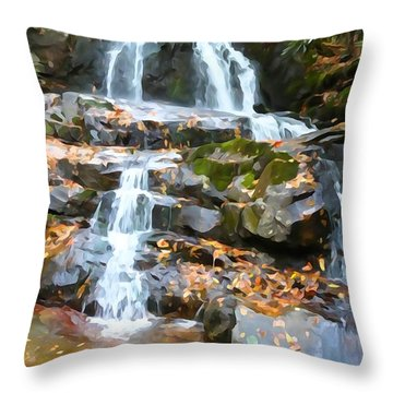 Painted Falls In The Smokies Throw Pillow by Dan Sproul