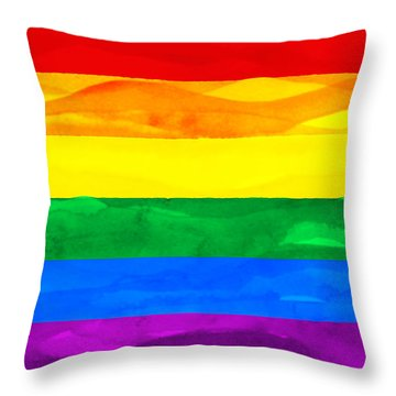Painted Flag Of Pride Throw Pillow