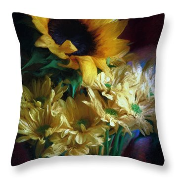 Painted Flowers Of Sun Throw Pillow