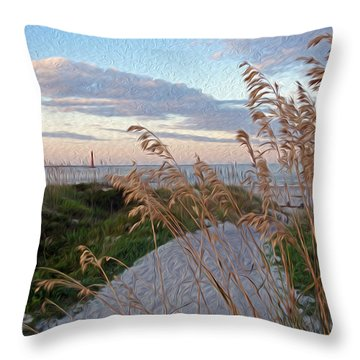 Painted Folly Beach Throw Pillow by Will Burlingham