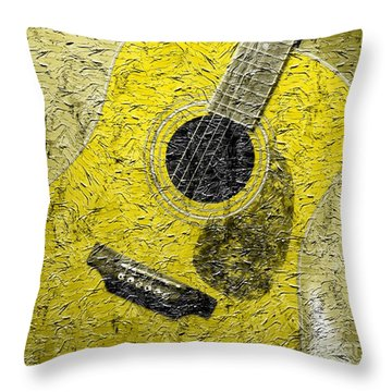 Painted Guitar - Music - Yellow Throw Pillow by Barbara Griffin
