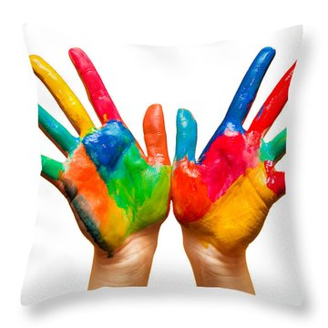 Painted Hands On White Throw Pillow by Michal Bednarek