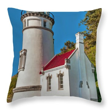 Painted Heceta Head Lighthouse Throw Pillow
