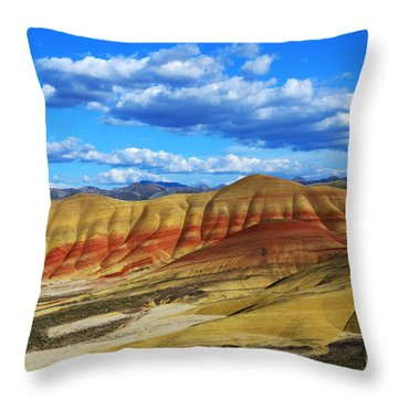 Painted Hills Blue Sky 3 Throw Pillow by Bob Christopher