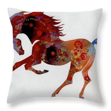 Throw Pillow featuring the digital art Painted Horse A by Mary Armstrong
