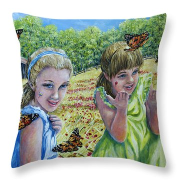 Painted Ladies Throw Pillow by Gail Butler