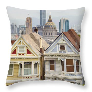 Painted Ladies Row Houses By Alamo Square Throw Pillow