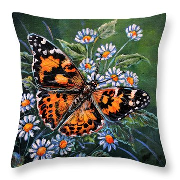 Painted Lady Throw Pillow by Gail Butler